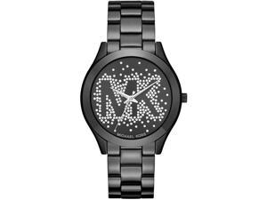Women's Michael Kors Slim Runway Crystallized Black Watch MK3589