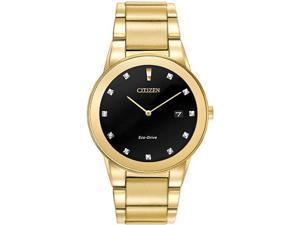 Citizen Eco-Drive Mens Axiom Diamond Gold Tone Bracelet Dress Watch AU1062-56G