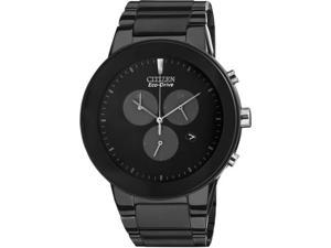 Citizen AT2245-57E Axiom Eco-Drive Chronograph Stainless Steel Case and Bracelet Black Tone Dial