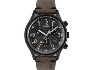 Timex Men's MK1 Steel Chronograph 42mm | Black Leather Strap | Watch TW2R96500