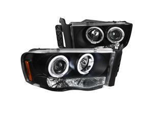 Spec-D Tuning Black Projector Headlights for 2002-2005 Dodge Ram Head Light Assembly Left + Right Pair