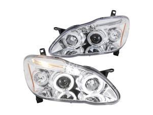 Spec-D Tuning Dual Halo Led Chrome Housing Clear Lens Projector Headlights for 2003-2008 Toyota Corolla Head Light Assembly Left + Right Pair