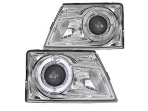 Spec-D Tuning for 1998-2000 Ford Ranger Chrome/Clear Halo Ring Projector Headlights 1998 1999 2000 (Left+Right)