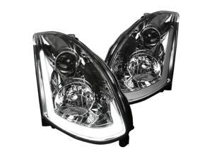 Spec-D Tuning Integrated Led & Signal Smoke Lens Projector Headlights for 2003-2005 Infiniti G35 Coupe Head Light Assembly Left+Right Pair