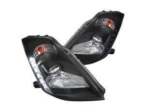 Spec-D Tuning SMD Led Hid Projector Headlights Head Lamps Black for 2003-2005 Nissan 350Z Head Light Assembly Left + Right Pair
