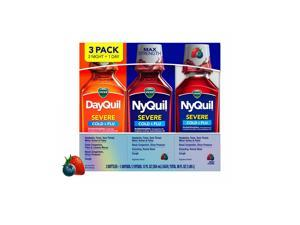 Vicks DayQuil & NyQuil SEVERE Cold & Flu Relief Liquid, Berry (12 fl oz, 3 pk)