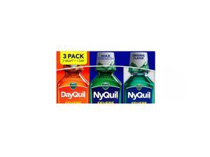 Vicks DayQuil & NyQuil SEVERE Cold & Flu Relief Liquid, Original (12 fl oz, 3pk)