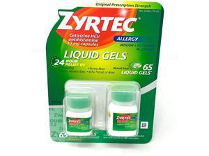 Zyrtec Antihistamine Cetirizine HCl 10mg., 65 Liquid Gels