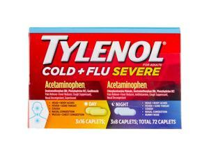 Tylenol Cold & Flu Severe Day & Night Caplets, Pack of 72