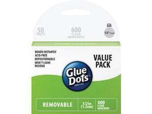 """Glue Dots 1/2"""" Removable Dots School Value Pack 600/Pkg-"""