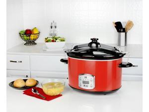 Kalorik Red 8 Qt Digital Slow Cooker with Locking Lid