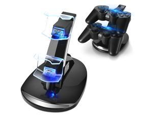 PS3 Controller Charger Stand for Sony Playstation 3 Controller Wireless Dualshock 3 Charging, 2 Tier Docking Station Stand and 2 USB PS3 Cable Compatible ports with LED Indicators, Slim Black