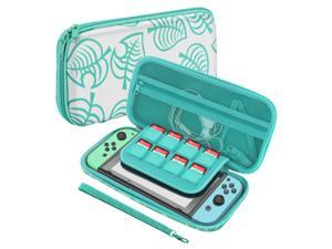 Travel Case for Nintendo Switch New Horizon Animal Leaf Crossing Portable Carry Hard Shell EVA Material Pouch Traveler Deluxe Cover for Switch Console, Joy Con Controller, Game Card Holders