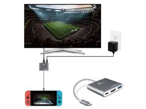 Nintendo Switch to HDMI Adapter - USB Type C Hub, USB-C Charging Port, HDMI Output Dongle Video Audio AV Charging Port Adaptor Converter Cable Wire Cord Plug Connector