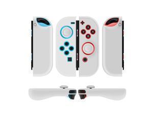 Nintendo Switch Joy-Con Grip Gel Guards with Thumb Grips Caps - Protective Case Covers Anti-Slip Ergonomic Lightweight Design Joy Con Comfort Grip Controller Skin Accessories (1 Pair Neon White)