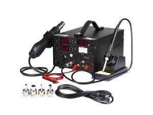 Rework Soldering Station Hot Air Gun Solder Iron SMD DC Power Supply Digital 3in1 Kit 853D Welder for Repairing Mobile Phones With 3 LED Display 4 Nozzles Analog Meter Probe Cable