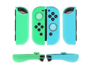 Nintendo Switch Joy-Con Grip Gel Guards with Thumb Grips Caps - Protective Case Covers Anti-Slip Lightweight Animal Crossing Design Joy Con Comfort Controller Skin Accessories (1 Pair Blue Green Leaf)