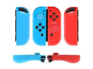 Nintendo Switch Joy-Con Grip Gel Guards with Thumb Grips Caps - Protective Case Covers Anti-Slip Ergonomic Lightweight Design Joy Con Comfort Grip Controller Skin Accessories (1 Pair Neon Blue + Red)