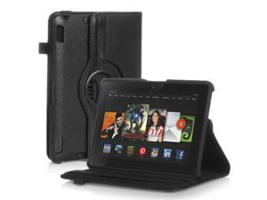 Amazon Kindle Fire HDX 7 Case - 360 Degree Rotating PU Leather Case Smart Cover Stand For Amazon Kindle Fire HDX 7 2013 Model with Wake & Sleep Feature & Stylus Holder Black