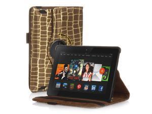 Amazon Kindle Fire HD 7 Case - 360 Degree Rotating PU Leather Case Smart Cover Stand For Amazon Kindle Fire HD 7 2nd Gen 2013 Model with Wake & Sleep Feature & Stylus Holder Gold Stripe Brown