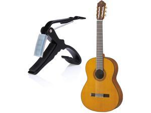 Key Trigger Quick Change Tune Clamp Capo with Soft Rubber Pads for Folk Classical Electric and Acoustic Guitars Instrument Accessories Portable Single-Handed in Black