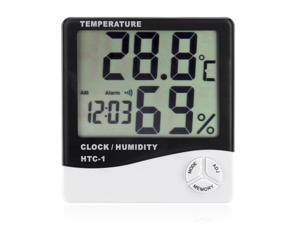 Digital Hygrometer Hygro Thermometer Meters With Alarm Clock Temperature Humidity Function LCD Display Portable For Indoor Home Office Use Desktop or Wall Hanging Powered by Battery
