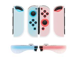 Nintendo Switch Joy-Con Grip Gel Guards with Thumb Grips Caps - Protective Case Covers Anti-Slip Ergonomic Lightweight Design Joy Con Comfort Grip Controller Skin Accessories (1 Pair Neon White)