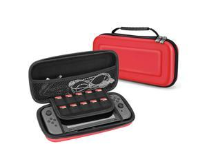 Nintendo Switch Travel Case - Portable Travel Carry Hard Shell EVA Material Pouch Traveler Deluxe Cover with Strap Handle for Switch Console, Joy Con Controller, Game Card Holders Accessories (Red)