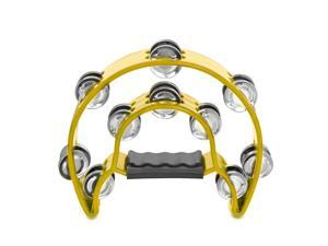 Half Moon Musical Tambourine (Yellow) Double Row Metal Jingles Hand Held Percussion Drum for Gift KTV Party Kids Toy with Ergonomic Handle Grip