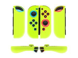 Nintendo Switch Joy-Con Grip Gel Guards with Thumb Grips Caps - Protective Case Covers Anti-Slip Ergonomic Lightweight Design Joy Con Comfort Grip Controller Skin Accessories (1 Pair Neon Yellow)