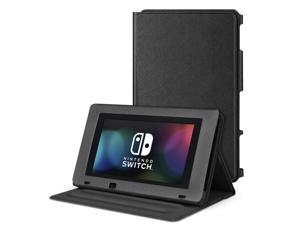 Nintendo Switch Protective Case Portable Play Stand - Adjustable Desktop Flip Multi-Angled View Stand Cover Holder w/ Premium PU Leather Skin Slim Fit For Switch Console Tablet (Black)