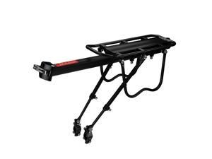 Bike Rear Rack Mount - Bicycle Back Seat Pannier Luggage Backpack Cargo Basket Carrier Rack Adjustable Aluminum Alloy for Road MTB Mountain Folding Bike with Red Reflector Lamp 110 lbs Capacity