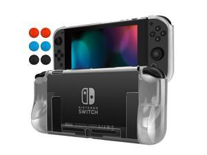 Nintendo Switch Case Cover for Console & Joy-Con Controller - Travel Friendly Crystal Clear TPU Plastic Shell Protector, Anti-Scratch Shockproof Protective Nintendo Switch Accessories (Clear)
