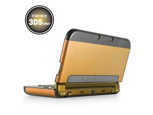 Plastic + Aluminium Full Body Protective Snap-on Hard Shell Skin Case Cover Gold for New Nintendo 3DS 2015