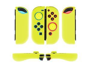 Nintendo Switch Joy-Con Grip Gel Guards with Thumb Grips Caps - Protective Case Covers Anti-Slip Ergonomic Lightweight Design Joy Con Comfort Grip Controller Skin Accessories (1 Pair Yellow)