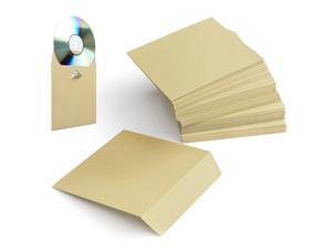 100 Pack CD DVD Thick Paper Sleeves (Beige) Standard Envelope Cases Display Storage Premium with Flap for Music Movie Video Game Disc