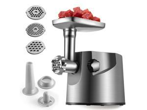 Electric Meat Grinder 2000W Heavy Duty Brushed Steel Body Sausage Stuffer Mincer w/ Premium Clean Design 3 Size Grinding Plates 2 Carbon Cutting Blades & Attachment Kits for Kubbe, Patties