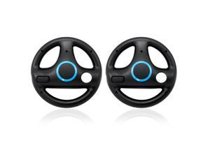 Steering Wheel for Nintendo Wii Motion Plus Remote Controller (2 Pack), Ideal for Mario Kart Racing Driving Games Black
