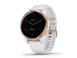 Garmin vivoactive 4S Smartwatch (40mm, Rose Gold Stainless Steel Bezel/White Case, Silicone Band)