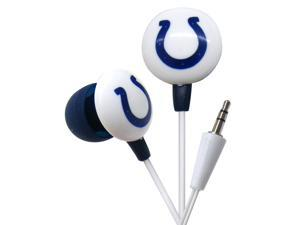 iHip NFL Officially Licensed Noise Isolating Mini Earbuds - Indianapolis Colts (White/Blue)