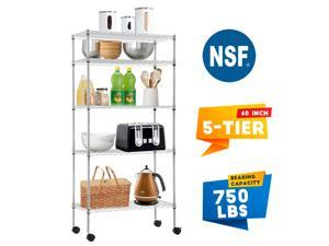 """Storage Shelves Heavy Duty Shelving 5 Tier Layer Wire Shelving Unit with Wheels Metal Wire Shelf Standing Garage Shelves Storage Rack ,Adjustable NSF certified 14""""x30""""x60""""Chrome"""