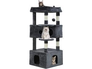 Cat Tree Cat Tower Cat Condo Playground Cage Kitten Medium Multi-level 48.8 inches Activity Center Play House Scratching Post Furniture Large Soft Plush Perches,Grey