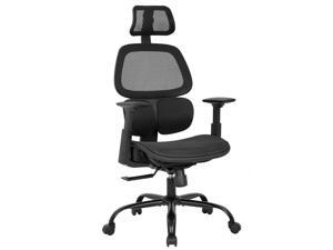 Office Chair Ergonomic Desk Chair Mesh Computer Chair with Arms Lumbar Support Swivel Rolling High Back Task Chair for Men Adults(Black)