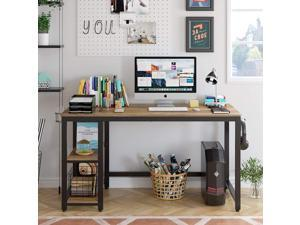 """55"""" Industrial Computer Desk for Home Office, Wood Study Writing Desk with 2 Shelves, Large PC Desk Workstation Gaming Table with Sturdy Metal Frame, Rustic Brown"""