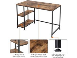 Computer Desk with 2 Shelves, 47 in Length Study Writing Table, 2-in-1 Large Office Desk with Metal Legs, Adjustable feet, Modern Furniture for Home Office, Study Room-Rustic Brown