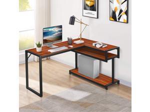 """Amzdal L Shaped Desk, 55.5"""" Reversible Corner Desk, Large Industrial Computer Desk, Home Office Workstation, Gaming Desk-Cherry/walnut brown"""