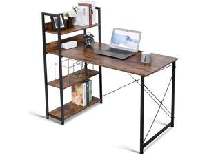 Computer Desk with Storage 4-Tier Shelves,  47'' Home Office Desk with Adjustable Bookshelf, Modern Simple Style Writing Study Desk for Bedroom Small Corner, Easy to Assemble