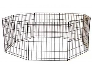 BestPet PP-24-Black Tall Dog Playpen Crate Fence Pet Kennel Play Pen Exercise Cage - 8-Panel