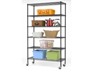 BestMassage WS-776 6-Shelf Commercial Steel Wire Shelving Rack w/ Wheels - Black