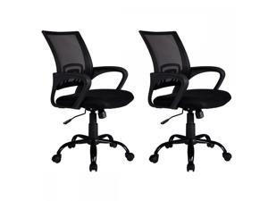 Black Ergonomic Mesh Computer Office Desk Midback Task Chair w/Metal Base H99 set of 2
